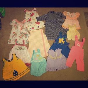 Lot of 14 pieces of Vintage baby clothing 60s 70s